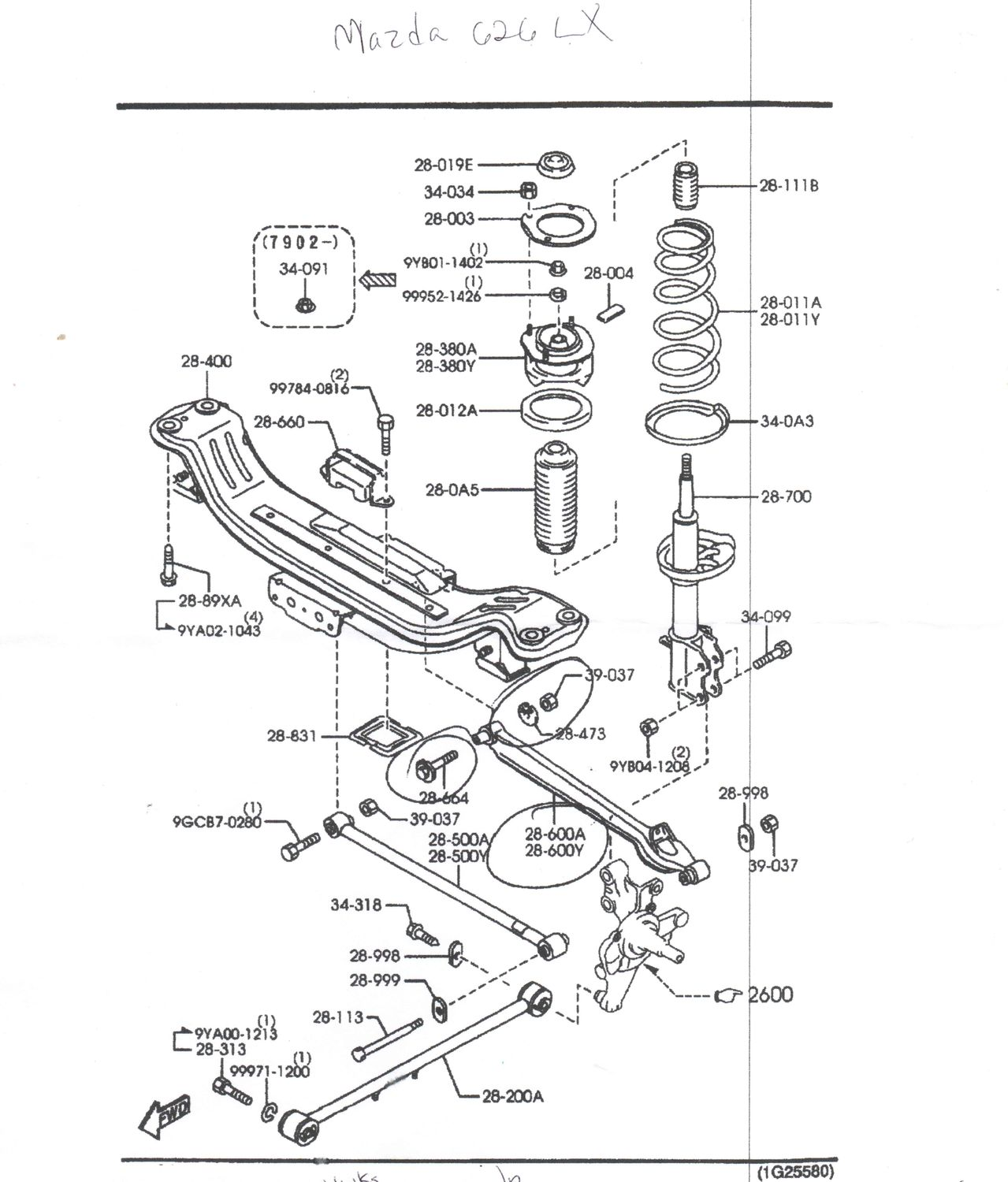 Mazda 626 Parts Diagram Suspension Reinvent Your Wiring 95 Engine Rear Trailing Arm Part 28 600a Or 600y 1993 2002 Rh Mazda626 Net 1997