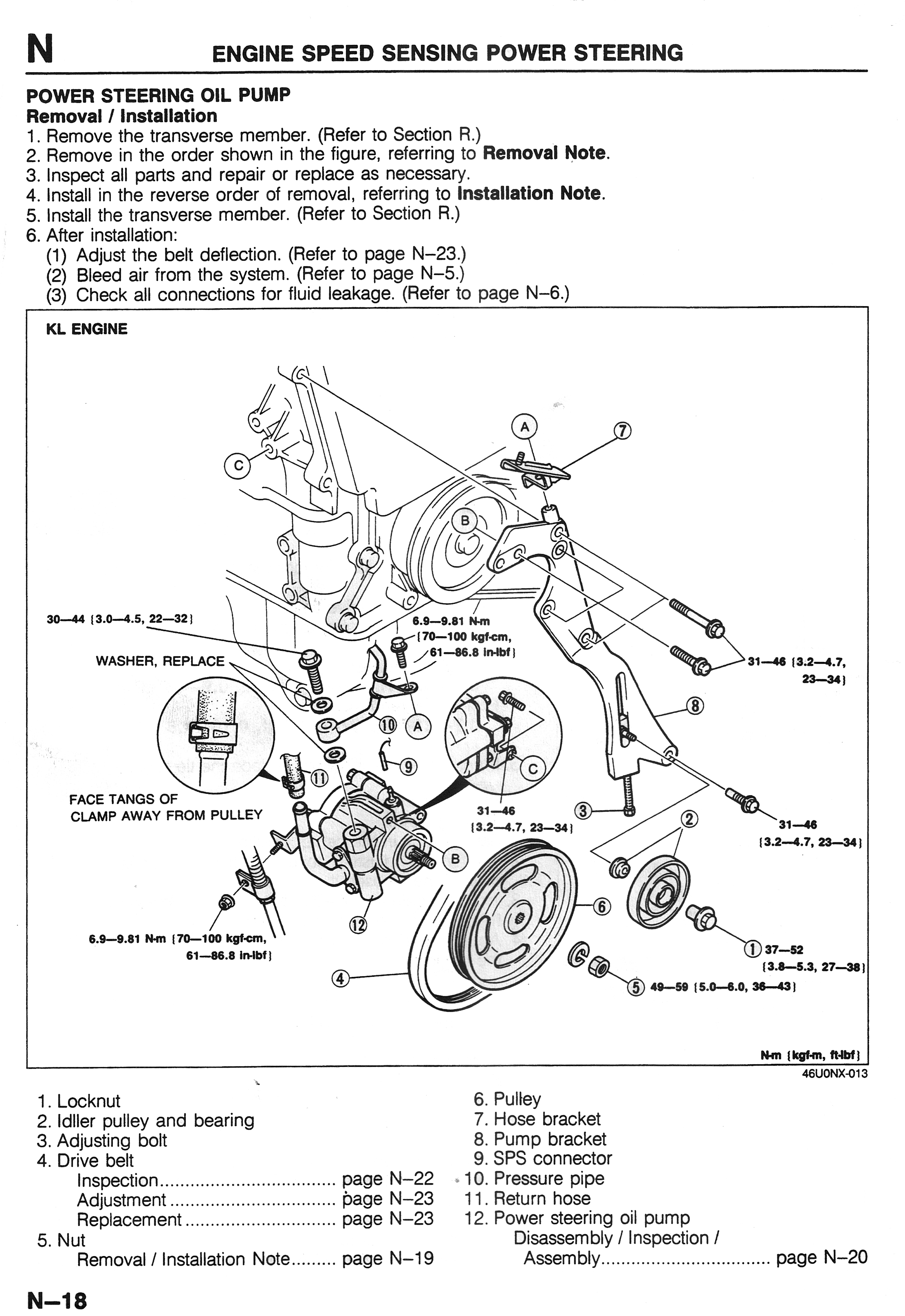 power steering pump repair info - 1993-2002  2 5l  v6