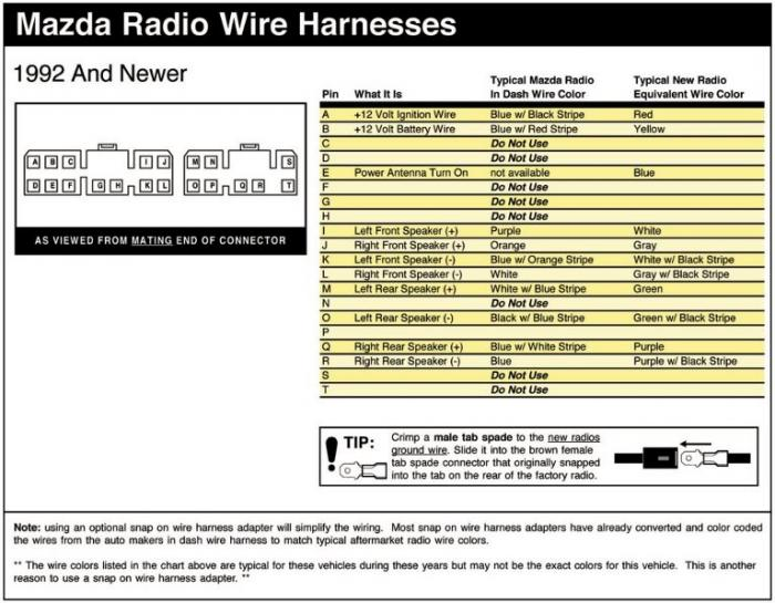 2000 Mazda Protege Car Stereo Wiring Diagram : Stereo wiring diagram page audio electronics