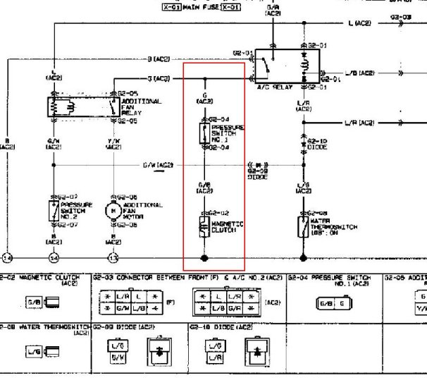 1991 or 1992 mazda 626 ac compressor wiring - 1988-1992 (2.2l, Wiring diagram
